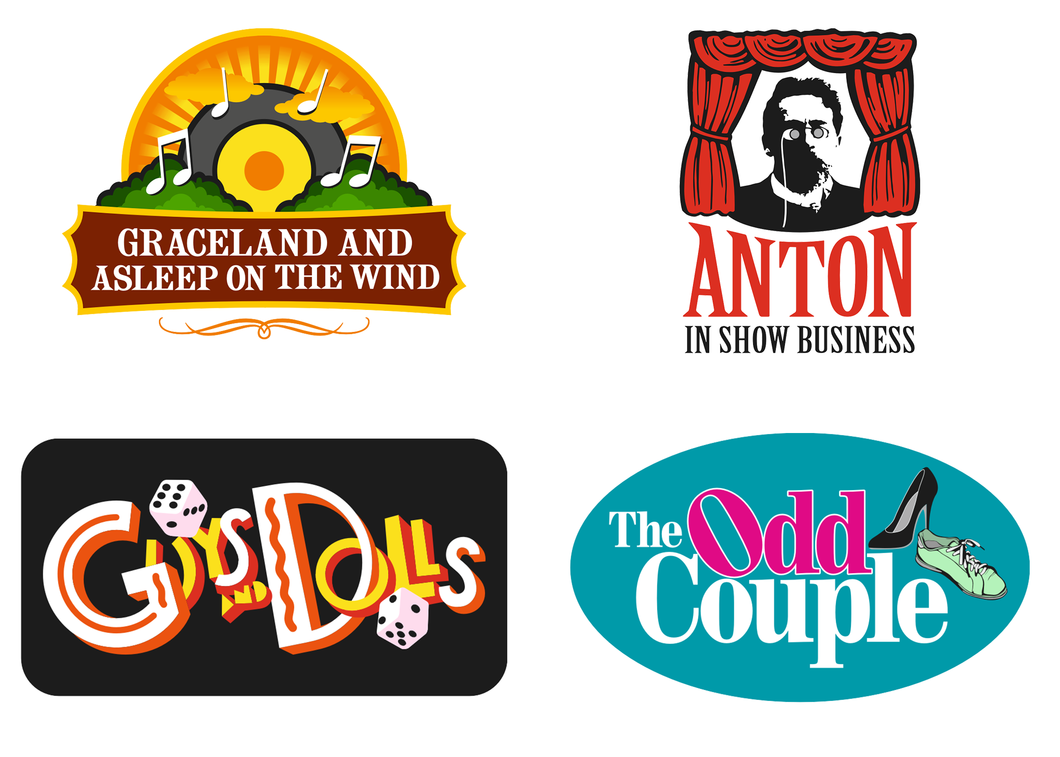 Logos of the 2015-2016 GSCT shows: Graceland and Asleep on the Wind, Anton in Show Business, Guys and Dolls, and The Odd Couple